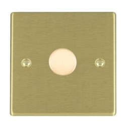 Hamilton Hartland Satin Brass Push On/Off Dimmer 1 Gang 2 way Inductive 200VA with Satin Brass Insert
