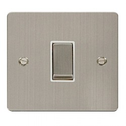 Click Define Stainless Steel Flat Plate Ingot 10AX 1 Gang 2 Way Switch with White Insert