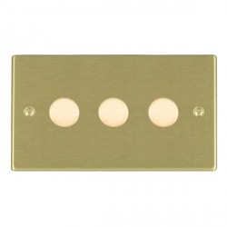 Hamilton Hartland Satin Brass Push On/Off Dimmer 3 Gang Multi-way 250W/VA Trailing Edge with Satin Brass Insert