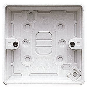 MK Electric 1 Gang 30mm White Moulded Surface Pattress Box