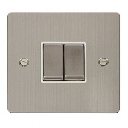 Click Define Stainless Steel Flat Plate Ingot 10AX 2 Gang 2 Way Switch with White Insert
