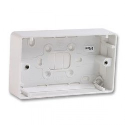 MK Electric 2 Gang 30mm White Moulded Surface Pattress Box