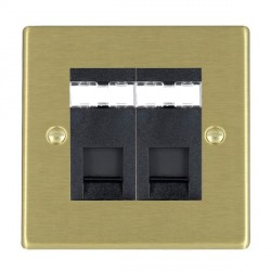 Hamilton Hartland Satin Brass 2 Gang RJ12 Outlet Unshielded with Black Insert