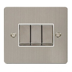 Click Define Stainless Steel Flat Plate Ingot 10AX 3 Gang 2 Way Switch with White Insert