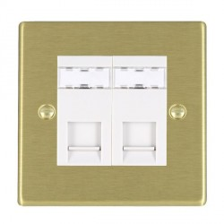 Hamilton Hartland Satin Brass 2 Gang RJ45 Outlet Cat 5e with White Insert