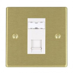 Hamilton Hartland Satin Brass 1 Gang RJ45 Outlet Cat 5e with White Insert