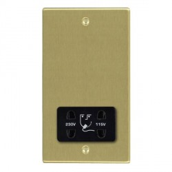Hamilton Hartland Satin Brass Shaver Socket Dual Voltage with Black Insert
