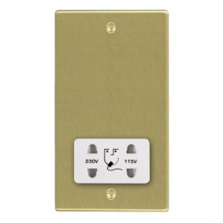 Hamilton Hartland Satin Brass Shaver Socket Dual Voltage with White Insert
