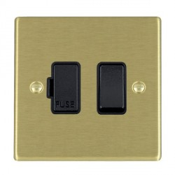 Hamilton Hartland Satin Brass 1 Gang 13A Fused Spur, Double Pole with Black Insert