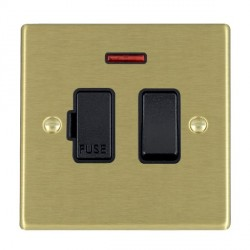 Hamilton Hartland Satin Brass 1 Gang 13A Fused Spur, Double Pole + Neon with Black Insert