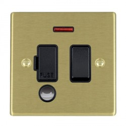 Hamilton Hartland Satin Brass 1 Gang 13A Fused Spur, Double Pole + Neon + Cable Outlet with Black Insert