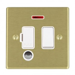Hamilton Hartland Satin Brass 1 Gang 13A Fused Spur, Double Pole + Neon + Cable Outlet with White Insert