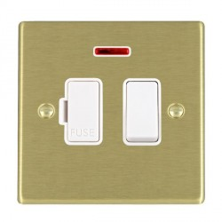 Hamilton Hartland Satin Brass 1 Gang 13A Fused Spur, Double Pole + Neon with White Insert