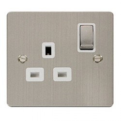 Click Define Stainless Steel Flat Plate Single 13A Socket with White Inserts