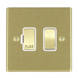 Hamilton Hartland Satin Brass 1 Gang 13A Fused Spur, Double Pole with White Insert