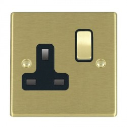 Hamilton Hartland Satin Brass 1 Gang 13A Switched Socket - Double Pole with Black Insert