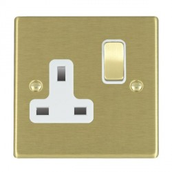 Hamilton Hartland Satin Brass 1 Gang 13A Switched Socket - Double Pole with White Insert