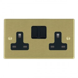 Hamilton Hartland Satin Brass 2 Gang 13A Switched Socket - Double Pole with Black Insert