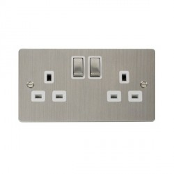 Click Define Stainless Steel Flat Plate Double 13A Socket with White Inserts