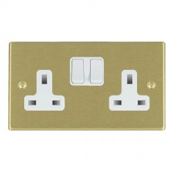 Hamilton Hartland Satin Brass 2 Gang 13A Switched Socket - Double Pole with White Insert