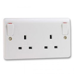 MK Electric Logic Plus™ White 13A 2 Gang Double Pole Switched Socket with Outboard Rockers