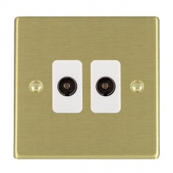 Hamilton Hartland Satin Brass 2 Gang Non Isolated Television 2in/2out with White Insert