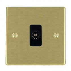 Hamilton Hartland Satin Brass 1 Gang Non Isolated Television 1in/1out with Black Insert