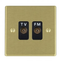 Hamilton Hartland Satin Brass 2 Gang Isolated Television/FM 1in/2out with Black Insert