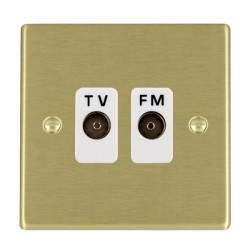 Hamilton Hartland Satin Brass 2 Gang Isolated Television/FM 1in/2out with White Insert