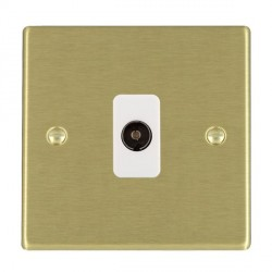 Hamilton Hartland Satin Brass 1 Gang Non Isolated Television 1in/1out with White Insert