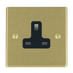 Hamilton Hartland Satin Brass 1 Gang 13A Unswitched Socket with Black Insert