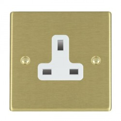 Hamilton Hartland Satin Brass 1 Gang 13A Unswitched Socket with White Insert