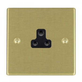 Hamilton Hartland Satin Brass 1 Gang 2A Unswitched Socket with Black Insert