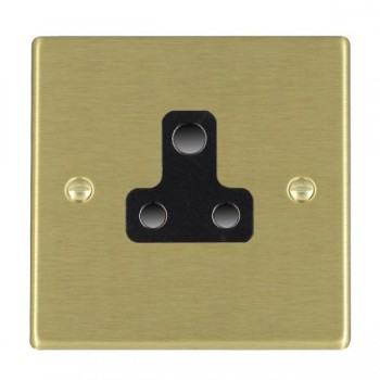 Hamilton Hartland Satin Brass 1 Gang 5A Unswitched Socket with Black Insert