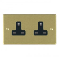 Hamilton Hartland Satin Brass 2 Gang 13A Unswitched Socket with Black Insert