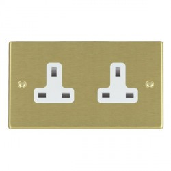 Hamilton Hartland Satin Brass 2 Gang 13A Unswitched Socket with White Insert