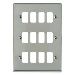 Hamilton Hartland Grid Bright Steel 12 Gang Grid Fix Aperture Plate with Grid
