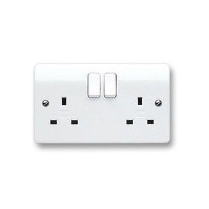 MK Electric Logic Plus™ White 13A 2 Gang Double Pole Switched Socket