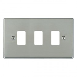 Hamilton Hartland Grid Bright Steel 3 Gang Grid Fix Aperture Plate with Grid