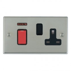 Hamilton Hartland Bright Steel 1 Gang Double Pole 45A Red Rocker + 13A Switched Socket with Black Insert