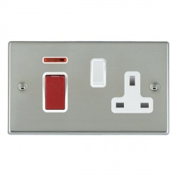 Hamilton Hartland Bright Steel 1 Gang Double Pole 45A Red Rocker + 13A Switched Socket with White Insert
