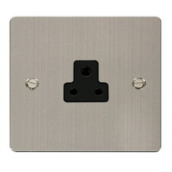 Click Define Stainless Steel Flat Plate Single 2A Round Pin Socket with Black Inserts