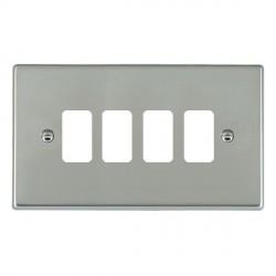 Hamilton Hartland Grid Bright Steel 4 Gang Grid Fix Aperture Plate with Grid