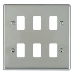 Hamilton Hartland Grid Bright Steel 6 Gang Grid Fix Aperture Plate with Grid