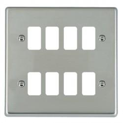 Hamilton Hartland Grid Bright Steel 8 Gang Grid Fix Aperture Plate with Grid