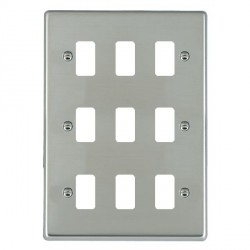 Hamilton Hartland Grid Bright Steel 9 Gang Grid Fix Aperture Plate with Grid