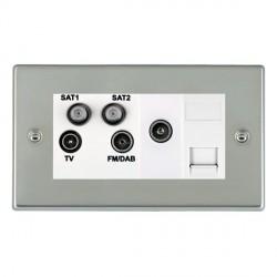 Hamilton Hartland Bright Steel TV+FM+SAT+SAT+TV+TCS (DAB Compatible) with White Insert
