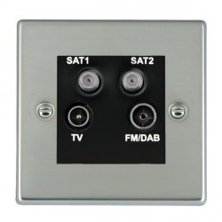 Hamilton Hartland Bright Steel TV+FM+SAT+SAT (DAB Compatible) with Black Insert