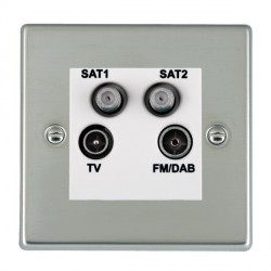 Hamilton Hartland Bright Steel TV+FM+SAT+SAT (DAB Compatible) with White Insert