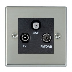 Hamilton Hartland Bright Steel TV+FM+SAT (DAB Compatible) with Black Insert